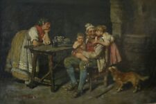 """Antique Original Oil Painting by John Edmund Califano - """"Italian Family at Home"""""""