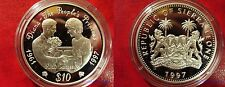 1997 Sierra Leone Large Proof Silver  $10 Princess Diana - AIDS Campaign