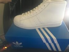 Adidas ProModel Men Round Toe Leather Basketball Sneakers [White] SIZE 9 1/2