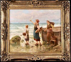JOSE JARDINES (1862-1914) LARGE SIGNED SPANISH FRENCH OIL - FISHERFOLK BEACH