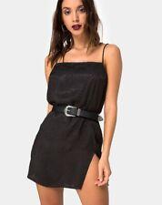 MOTEL ROCKS Datista Slip Dress in Satin Cheetah Black XXS 2XS (mr4)