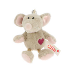 NICI Mouse Grey Stuffed Animal Plush Beanbag Key Chain 4 inches