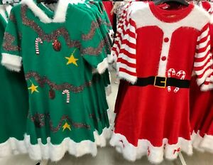 BNWT Ladies Festive Knitted Christmas Tree Dress Mrs Clause Fancy Dress Costume
