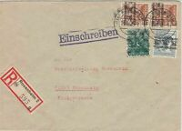 Germany Rosenheim 1948 Registered Allied Occupation Multi Stamps Cover Ref 32344
