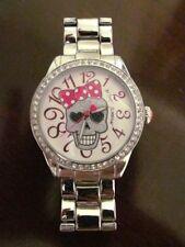 RARE Betsey Johnson Women's Crystal Skull Polka Dot Bow Silver Boyfriend Watch