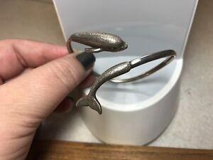 Kabana Signed KBN Sterling Silver Dolphin Wrap Bangle Tension Bracelet