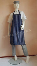 Adjustable Full Bib Navy Blue&White Pinstripe Chef/Butcher Apron, No Pocket