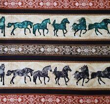 Unbridled BTY Dan Morris Quilting Treasures Western Horse Stripe Black