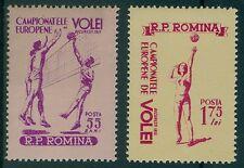 Rumänien 1955 Mi.1517-18 ** Volleyball EM in Bukarest,Sport,Ball,Aufschlag,Netz