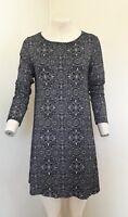 Lovely Black & Beige Patterned Long Sleeve Dress by Boohoo - Size 12 - BNWOT!