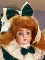 Antique 18-Inch Simon&Halbig/ Handwerck Doll w/ HH Wig in White Muslin Dress and