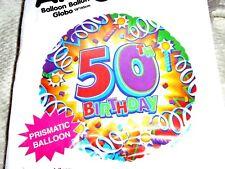 """Âge 50 50TH Anniversaire 18"""" Foil Balloon-Prismatique Banderoles Design"""