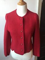 """VINTAGE """"Eagle's Eye"""" Women's 10 (M/L) Red Boiled Wool Button Up Cardigan Jacket"""