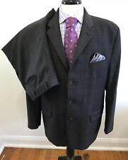 Calvin Klein Designer Wool Suit Brown Plaid Size 44R
