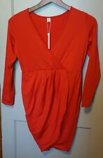 POSESHE Women's V-Neck Long Sleeve Red Evening Party Wrap Dress Size XL C1