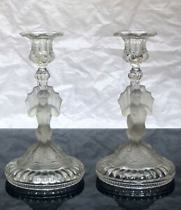 PORTIEUX French Pair candlestick Crystal model Siren Antique- near Baccarat 19TH