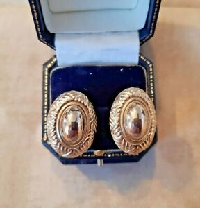 VINTAGE Statement EARRINGS CLIP ON 80s Gold Tone OVAL GOLD PATTERN Edge RETRO.