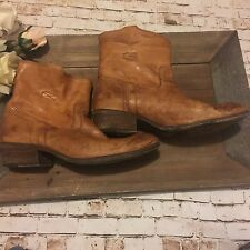 FRYE size 9.5B light brown leather ankle boots pull on