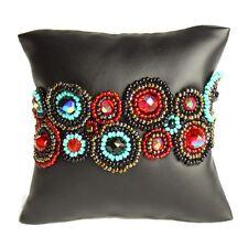 Czech Glass Bead Turquoise Red Black BRACELET Cuff Bangle Shamballa Boho Hippie