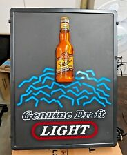Miller Genuine Draft Light 3-D Lighted Vintage Working Beer Sign 20�X15�1993