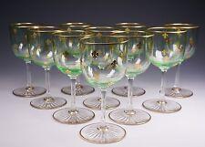 10 Green Bowl Clear Stem Gold Fleur-de-Lis French Glass Cordials Stems