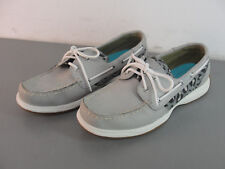 SPERRY TOP SIDER WOMANS GREY LEATHER LEOPARD PRINT LOAFERS BOAT SHOES 8M NICE