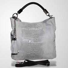 Shopper Ledertasche Henkeltasche Umhängetasche Handtasche Schultertasche Grau 1