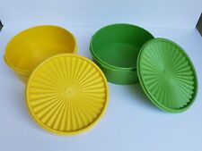 Vintage Tupperware Containers 1204-11 Servalier With Lids Green And Yellow