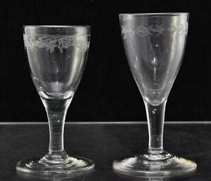Near Pair Antique Georgian Engraved Free Blown Funnel Wine Glasses circa 1800