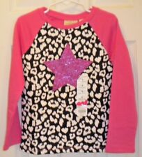 NWT Jumping Beans Girls Pink Black White Purple Star Size 6 LS Shirt Heavier WT