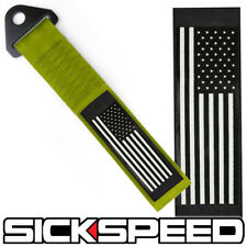 OLIVE GREEN AMERICAN FLAG HIGH STRENGTH RACING TOW STRAP FRONT REAR TOW HOOK