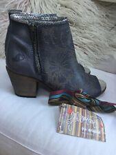 Felmini Italian Leather Blue Silver Heeled Ankle Boots Size 4 37 Peep Toe