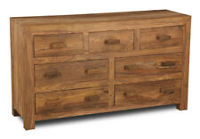 CUBA NATURAL SHEESHAM BEDROOM 7 DRAWER CHEST (CB10NW)