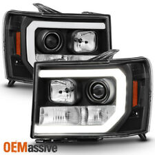 For 07-13 GMC Sierra 1500/2500HD/3500HD Black DRL LED Tube Projector Headlights