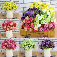 21 Head Artifical Plastic Rose Silk Flower Wedding Bouquet Office Home Decors