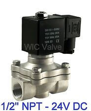 "1/2"" Inch Stainless Electric Air Water Gas Solenoid Valve Nc 24V Dc Viton Seal"