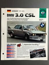 "1971 - 1975 BMW 3.0 CSL Sedan IMP ""Hot Cars"" Spec Sheet Folder Brochure Awesome"