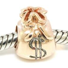 Money Bags 9K 9ct Solid Rose Gold Bead Charm Fits Euro Bracelets 30 Day Return