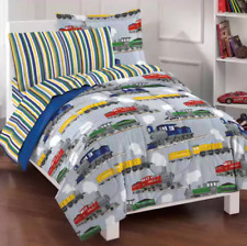 Twin Comforter Set Bedding for Kids Boys Bedspread Trains Blue Sheets 5 Pc
