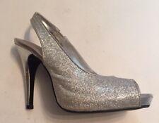 Lulu Townsend Women's Heels Silver Metallic Glitter Slingback Occasion  7.5 38