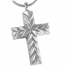Stainless Steel Cross Cremation Pendant Urn Jewelry Holds Pet Ashes Human