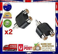 2x RCA Y Splitter AV Audio Video Plug Converter 1-male to 2-female Cable Adapter