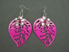 "Pink leaf earrings cut out filigree flower ombre dangle 3.25"" long lightweight"