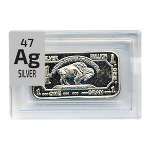 1 Gram Rare Buffalo Periodic Element Ag .999 pure Silver Metal in Element tile