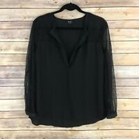 Nasty Gal Womens Top Chiffon Blouse Relaxed Fit Lace Sleeve Deep V Neck Black S