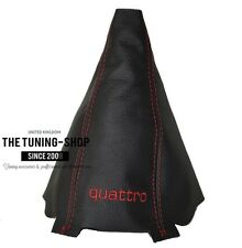 """For Audi A4 B6 01-04 Shift Boot Black Leather """"quattro"""" Red Embroidery"""