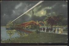 Postcard CEDAR POINT Ohio/OH  Boat Dock/Pier w/Night Electric Light view 1907