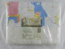 "New Vintage Curity Crib Blanket White Baby Bears Pink Blue 1986 40"" x 45"""