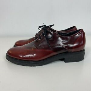 Clarks Burgundy Red Patent Flat Lace Up Brogue Shoes Size 5.5