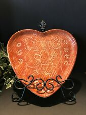 Rare Unusual Collectible Vintage Cat Hand Crafted Carved Pottery Plate